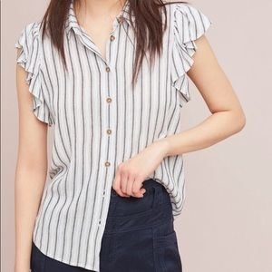 ANTHROPOLOGIE MAEVE Striped Button Down Top XS